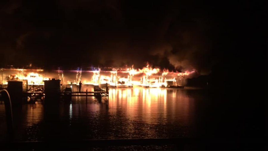 Authorities responded to a fire Monday morning at the Jackson County Park in Scottsboro.