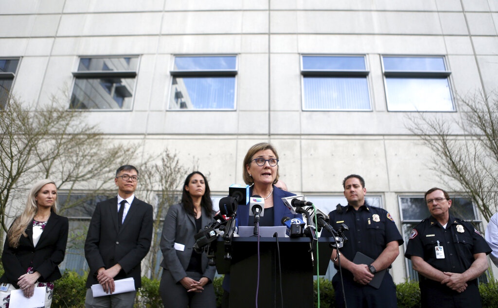 Santa Clara County Public Health Department Director Dr. Sara Cody speaks during a news conference in San Jose, Calif., on Friday, Feb. 28, 2020. Santa Clara County health officials confirmed a second case of unknown origin of the novel coronavirus.