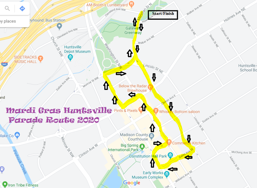 Downtown Huntsville announces Mardi Gras parade route