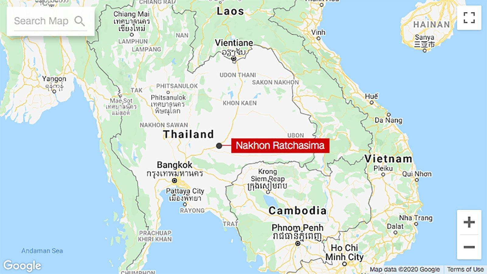 detailed map of korat thailand - HD1600×900