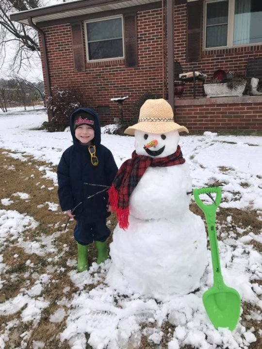 Kathleen Godwin sent us this picture of Andy the snowman.