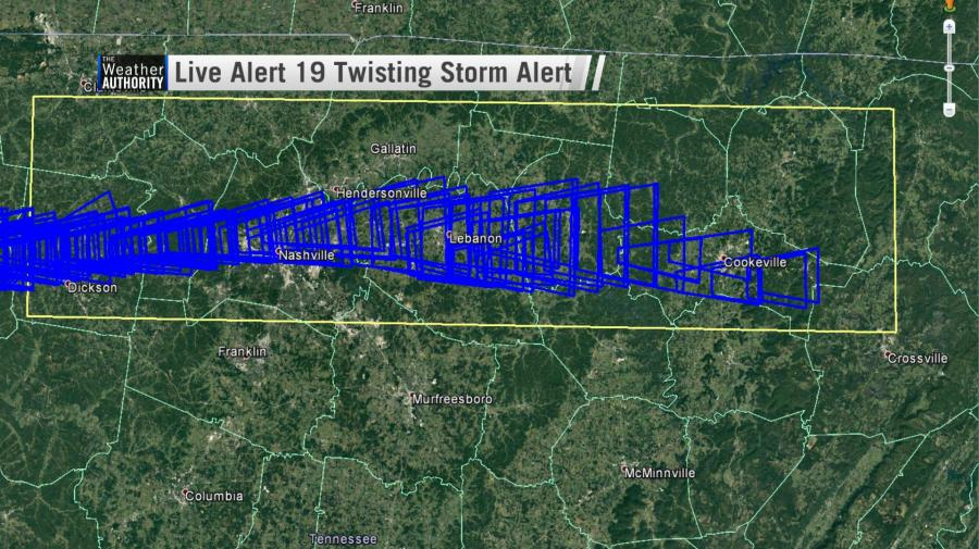 The blue polygons here are twisting storm alerts sent out by Live Alert 19