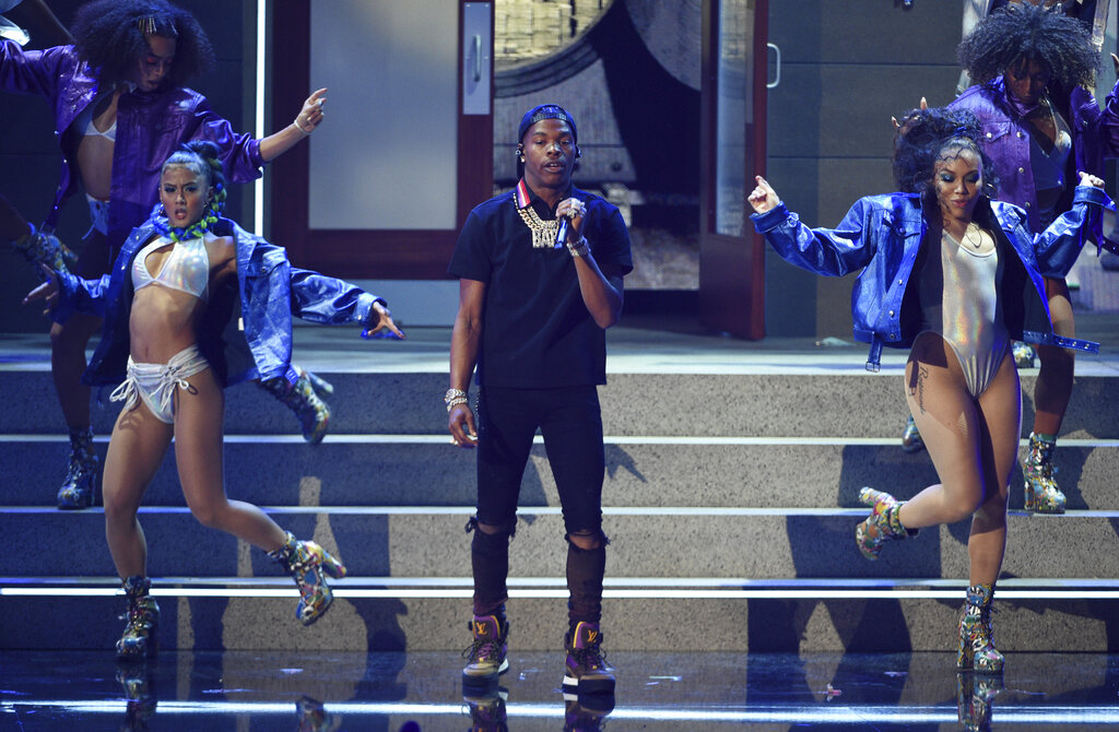 Lil Baby performs at the BET Awards on Sunday, June 23, 2019, at the Microsoft Theater in Los Angeles.