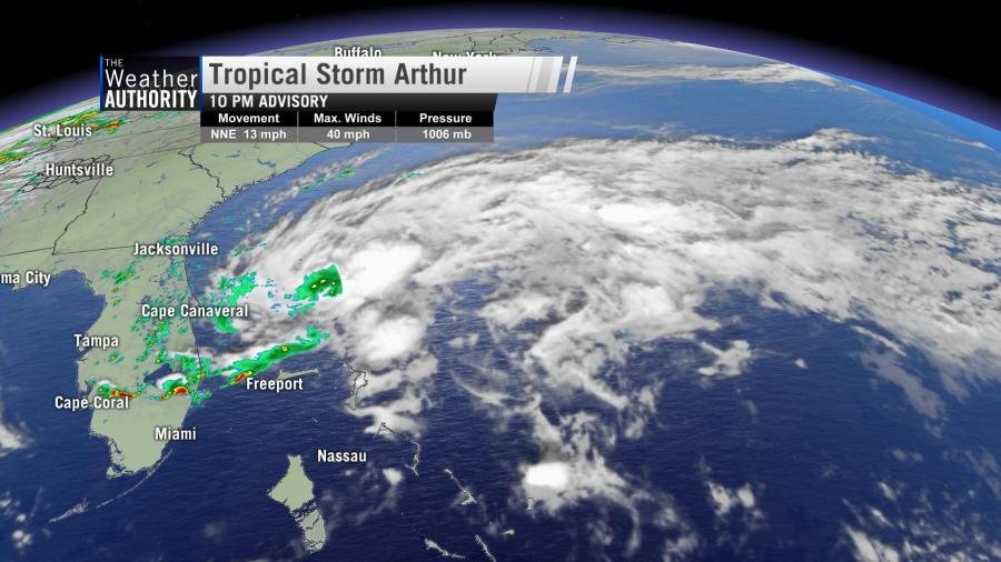 Tropical Storm Arthur forms off the Florida Atlantic Coast