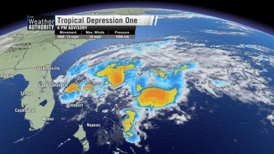 Tropical Depression One forms off the Florida Atlantic Coast