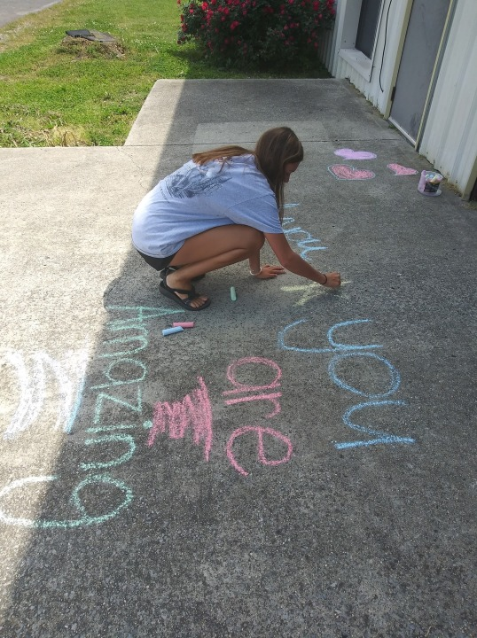 Chalk art brightens the day at Highlands Medical Center