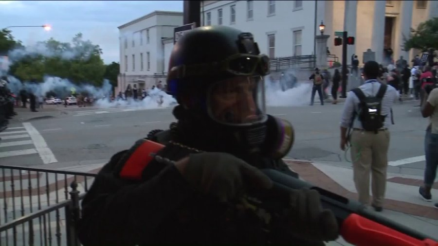 PHOTOS: Situation gets tense after protest ends, dozens arrested, one officer injured