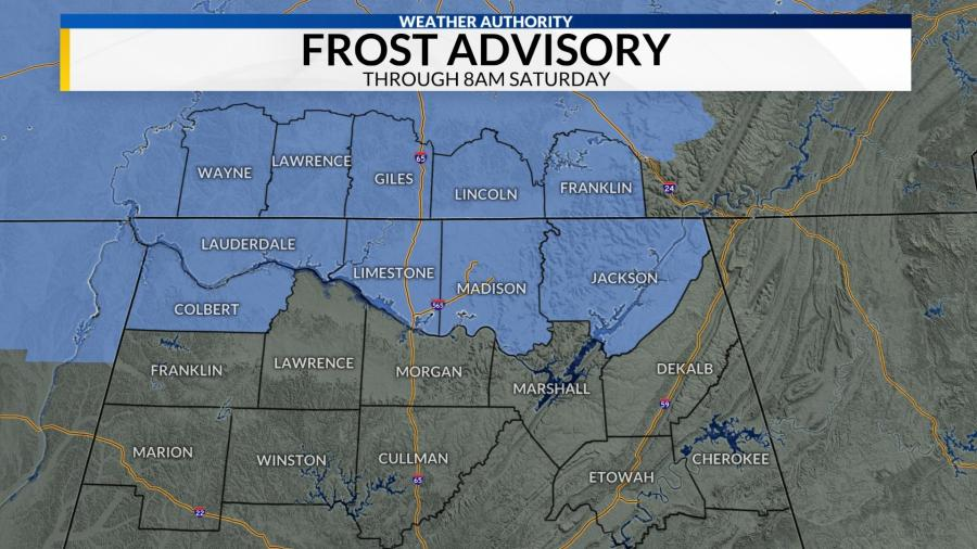 Frost Advisory For Parts Of the Tennessee Valley Saturday Morning