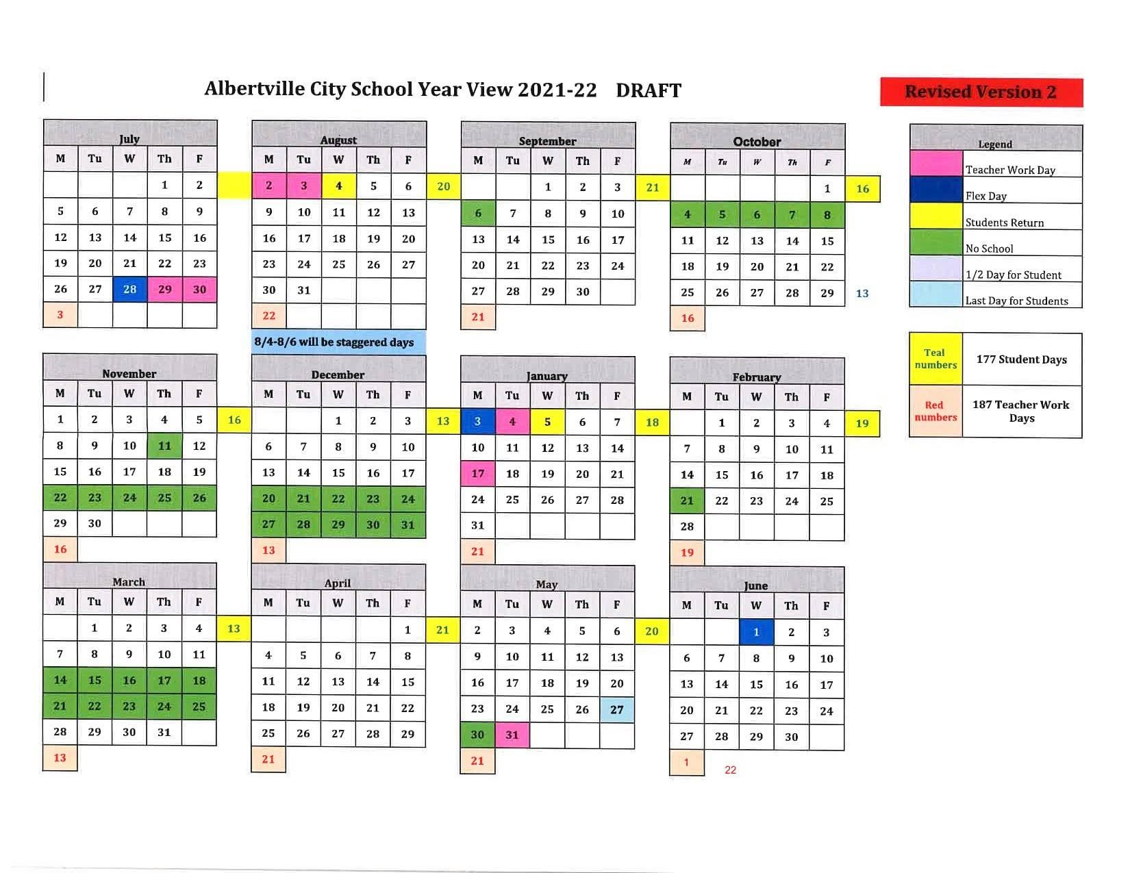 Huntsville City Schools Calendar 2022.Albertville City Schools Release Calendar For 2021 2022 School Term Whnt Com
